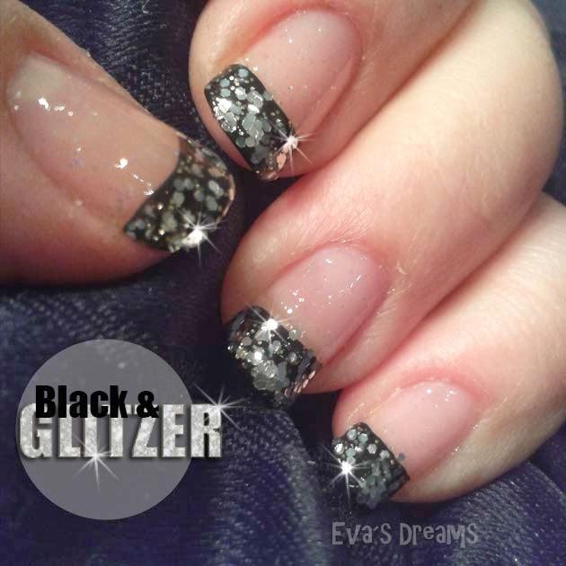 Nails of the week - Nail art - Black & Glitzer French