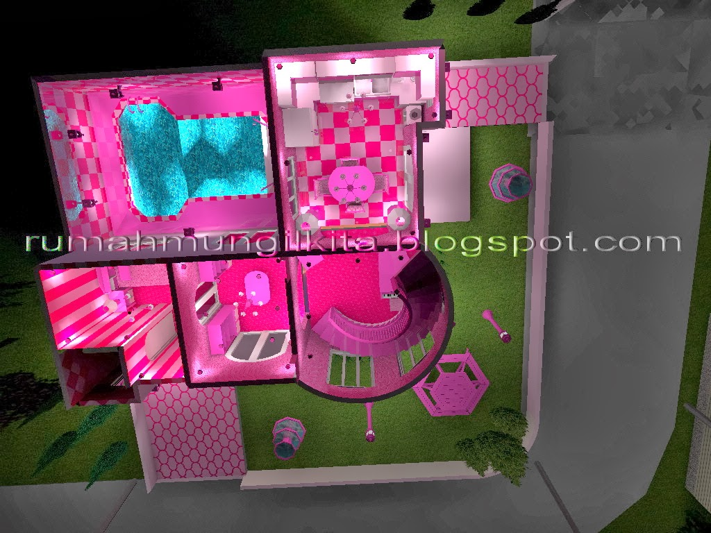 Real Small Barbie Dream House Castle, 3 dimensional first floor plant