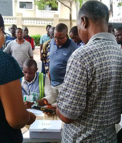 Aliko Dangote, Africa's richest man was photographed casting his vote at his polling unit