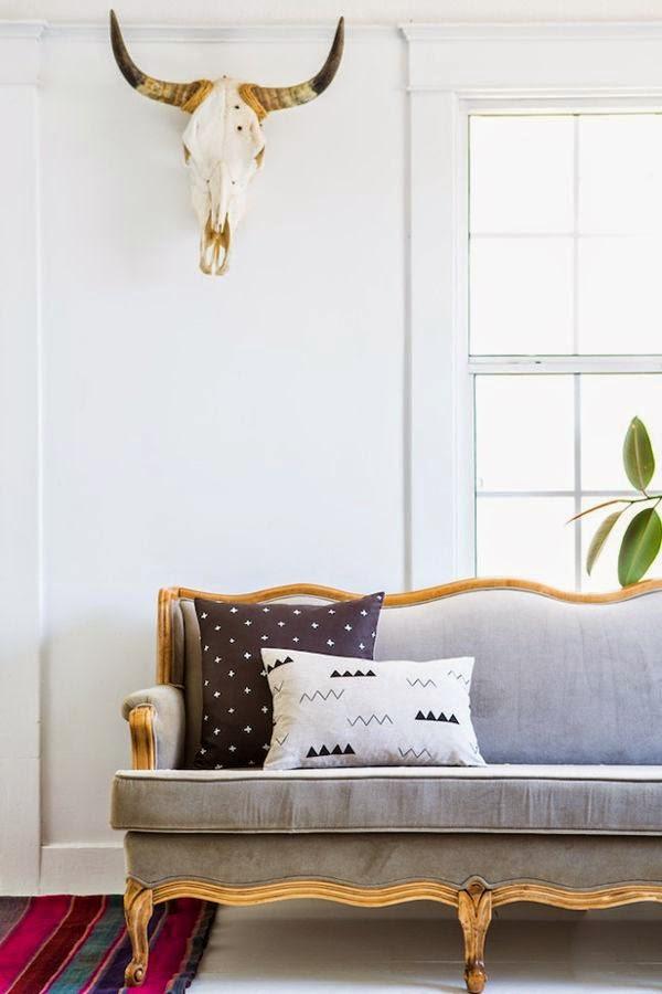 sofa gris frances vintage