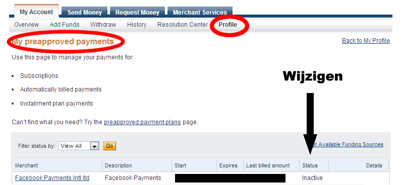 how to stop pre approved payments on paypal