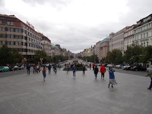 "St Wenceslas Square  plaza  facing ""St Wenceslas Statue""."