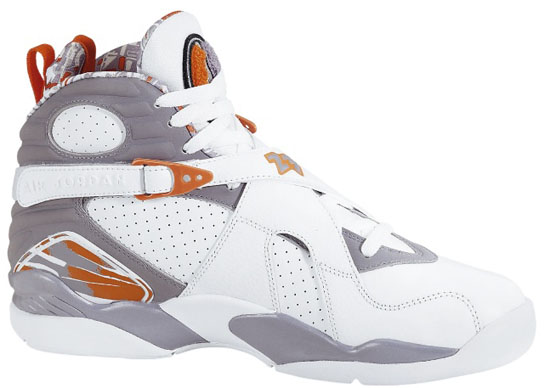 Air Jordan 8 Retro (10/20/2007) 305381-102 White/Stealth-Orange Blaze-Silver $135.00