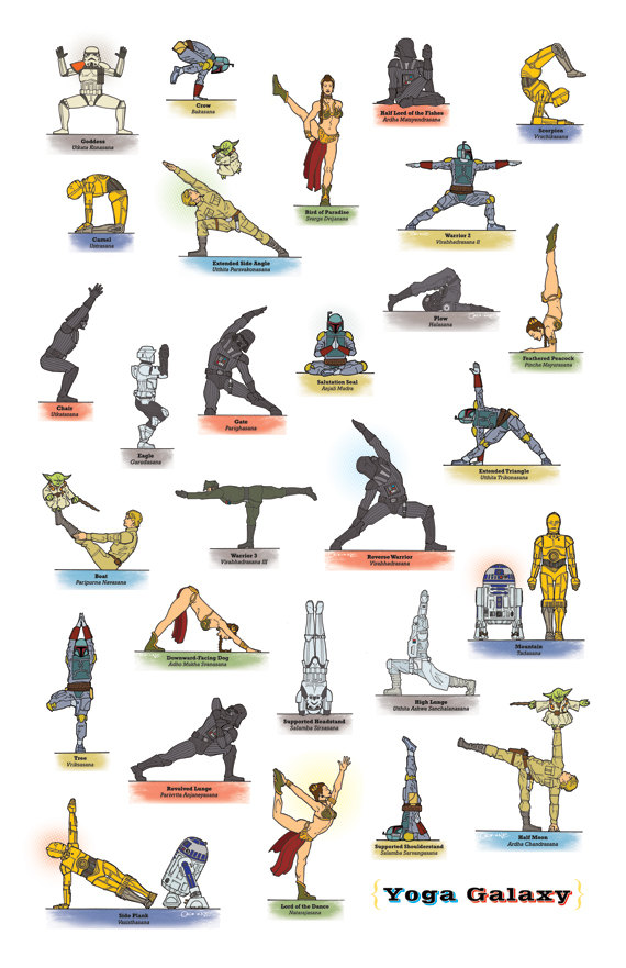 Purely For Your Giggly Enjoyment Complete Star Wars Yoga Galaxy Poster Collection Designed And Drawn By Artist Rob Osborne Who Also Sells Them On