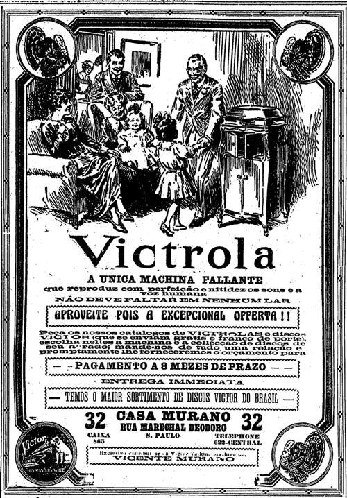 Propaganda de vitrola de 1919. Formalidade no texto do anúncio e imagem desenhada a mão.