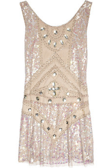 Embellished tulle mini dress