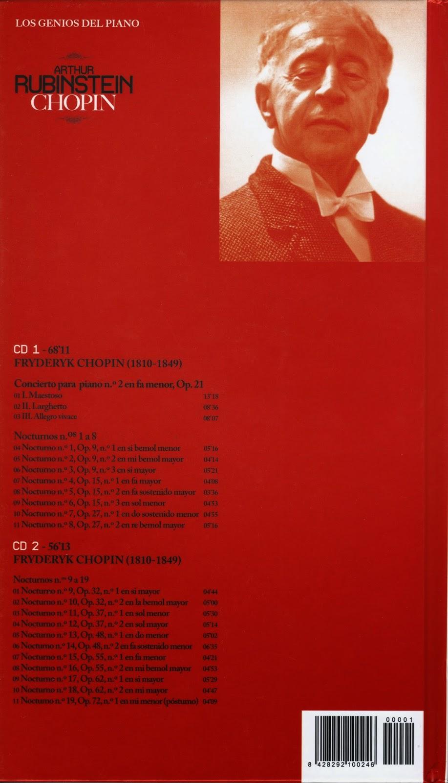 Imagen de Colección Los Genios del Piano-01-Arthur Rubinstein & Chopin-trasera