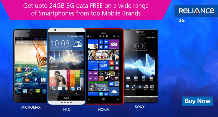 Reliance Offering upto 24GB 3G Data with New Branded Smartphones