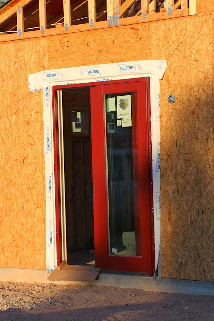 weathershield brick red sliding door