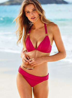 Lithuanian bombshell Edita Vilkeviciute, unleashing her wonderful curves in bikini for Victoria's Secret