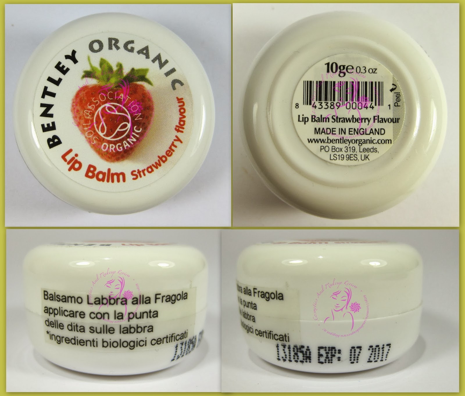 Bentley Organic - Lip Balm Strawberry flavour - packaging a 360°