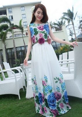 Bohemia Floral Print Pleated Midi Fashion Apparel Women's Clothing Dresses