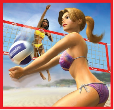 Women beach volleyball players with bikini