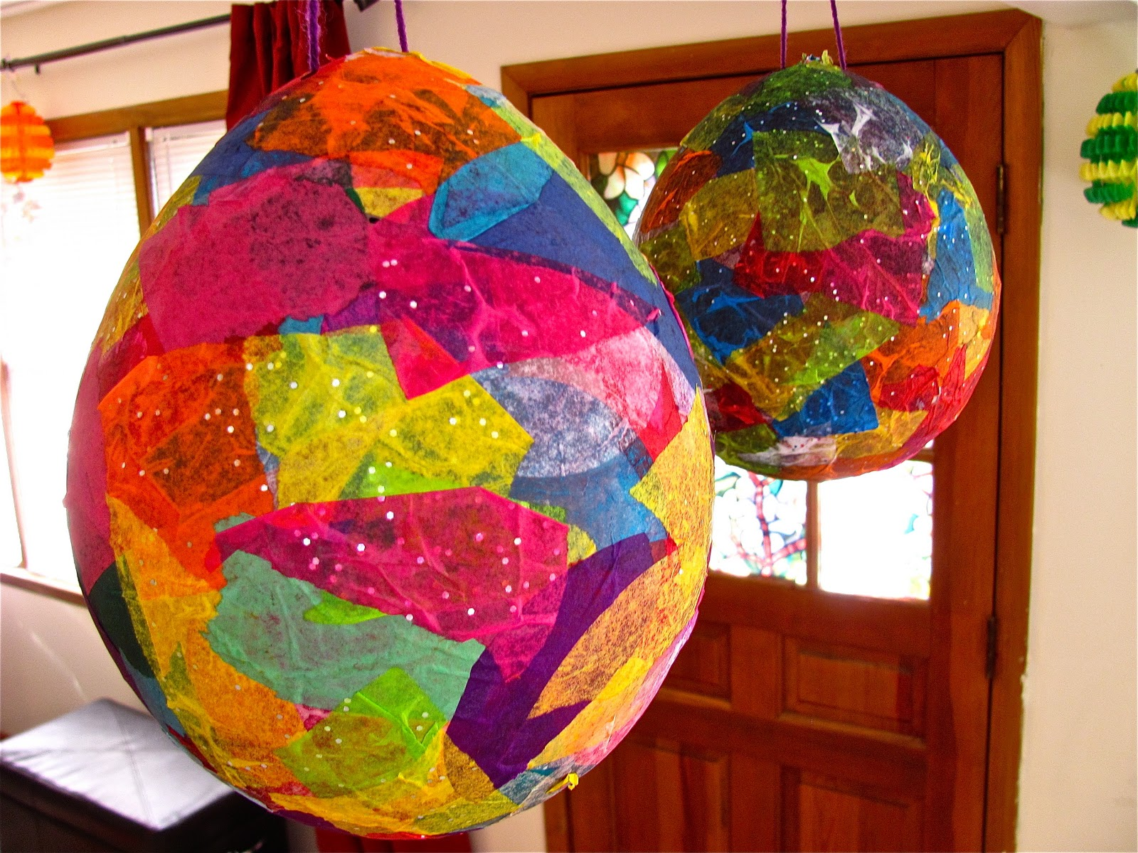 The chocolate muffin tree tissue paper mache easter egg for Papier mache decorations