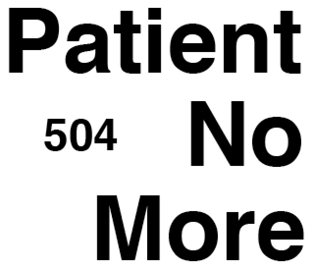 504 Patient No More logo. The words Patient No More are large and justified right with the numbers 504 small and to the left.