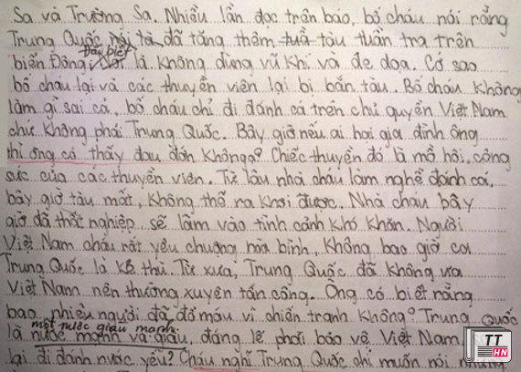 Một đoạn trong bức thư gửi lãnh đạo Trung Quốc của em Trương Ánh Dương (Câu lạc bộ bồi dưỡng năng khiếu Văn của Lớp 4 Trí Đức, HN)