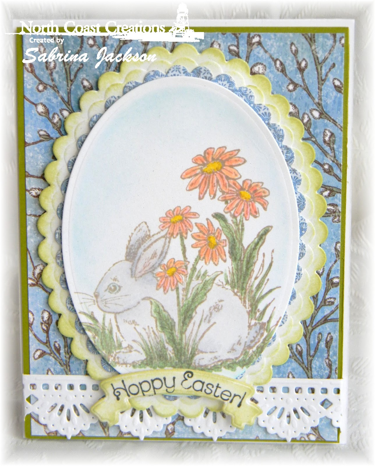 Stamps - North Coast Creations Hoppy Easter, ODBD Blooming Garden Paper Collection, ODBD Custom Beautiful Borders Dies,  ODBD Bird Cage and Banner Dies
