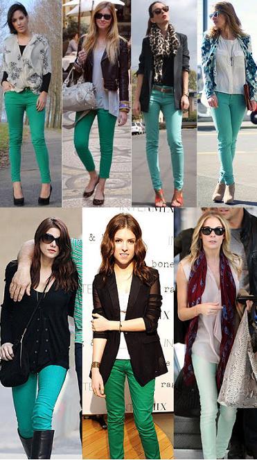 Tendência: Looks para o dia-a-dia com Calças Coloridas (Color Pants) verdes e azuis