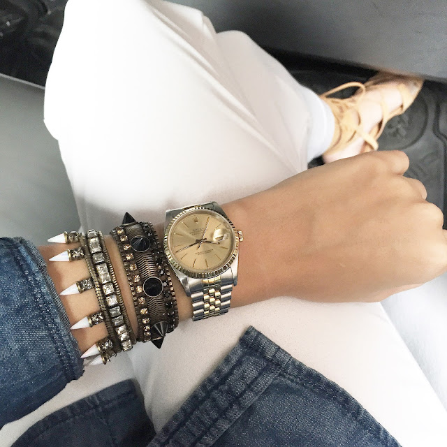 lionette sinead bracelet, lionette gilmore bracelet, two tone vintage watch, arm swag
