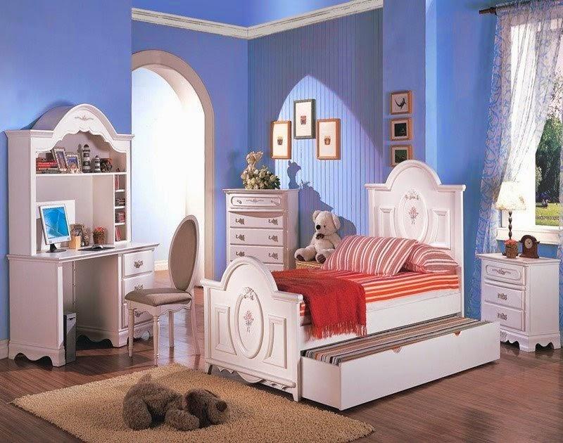 Desain kamar anak tema teddy bear cat warna biru