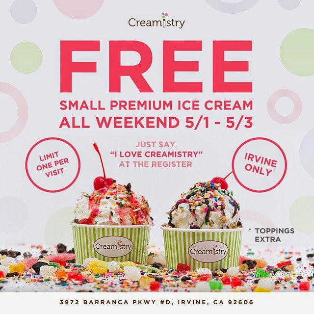 I LOVE FREE CREAMISTRY! GET IT FOR FREE THIS WEEKEND - IRVINE