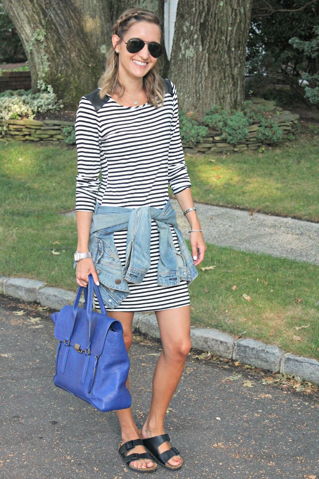 adding a pop of color to a striped look