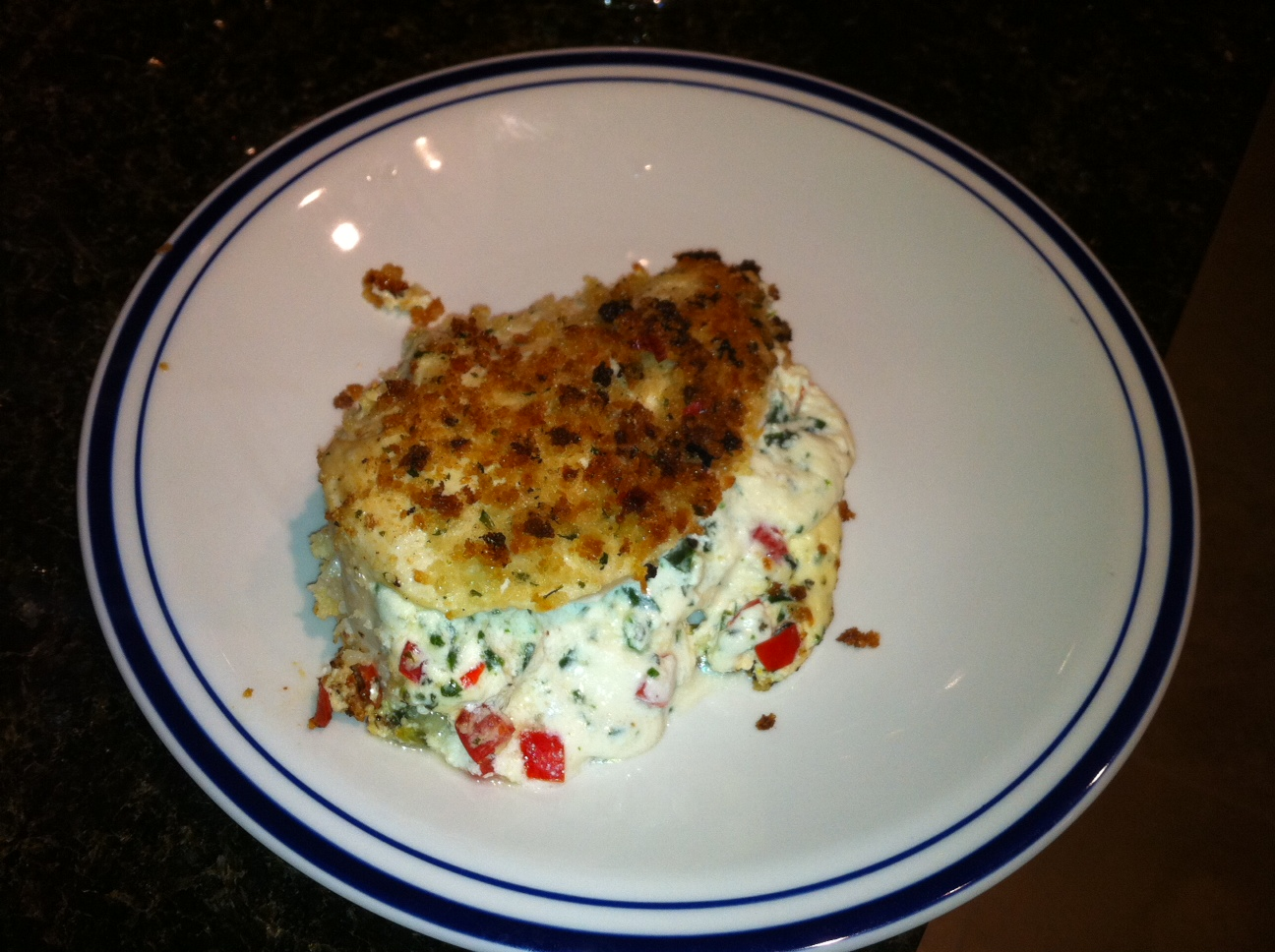 ... Panko Crusted Chicken Stuffed with Ricotta, Spinach, Tomatoes and