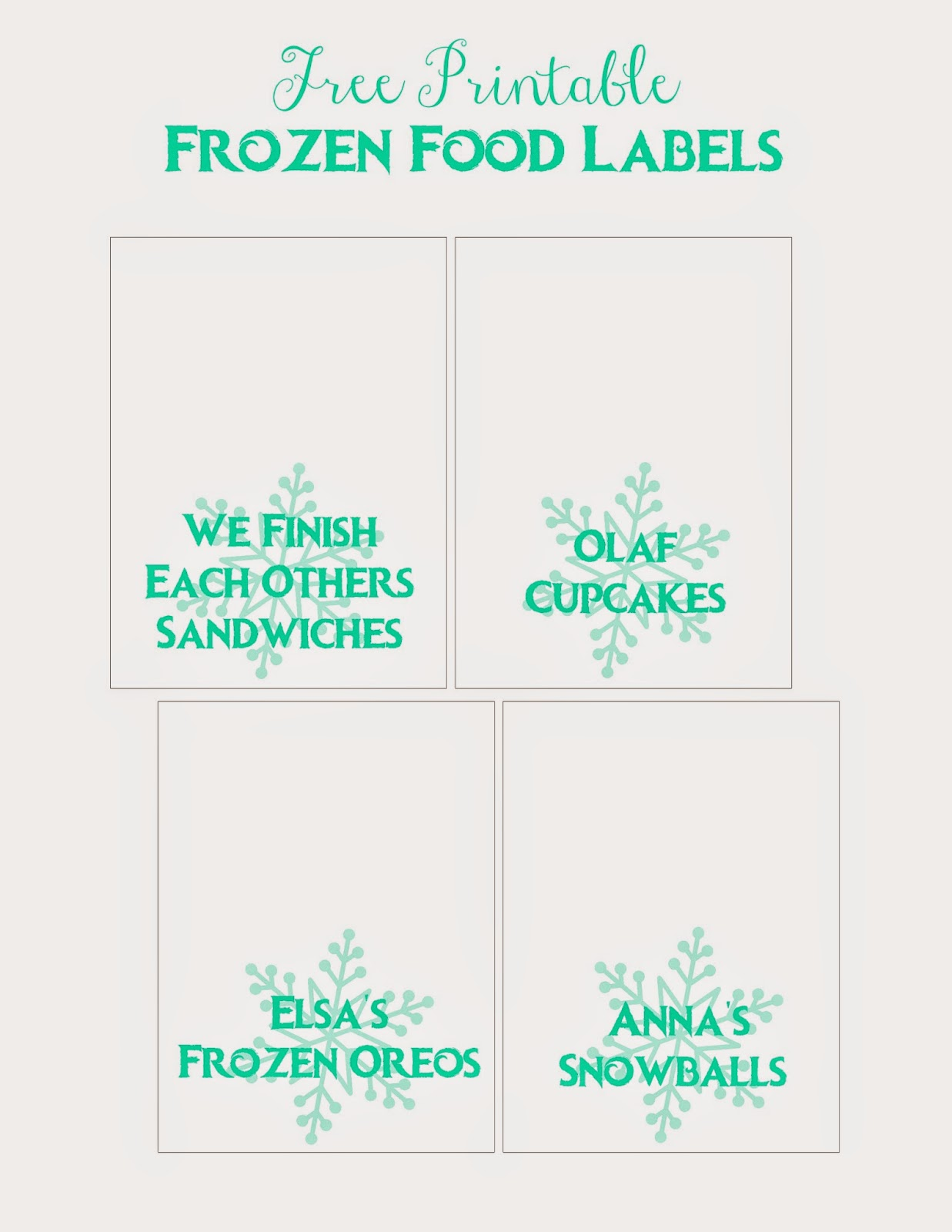Frozen Birthday Party:  Free Printable Food Labels + more ideas from Alice Scraps Wonderland