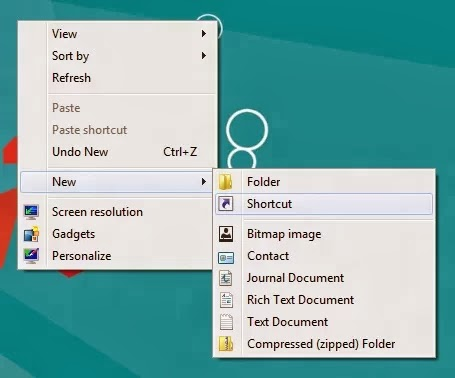 Create shutdown shortcut windows 8