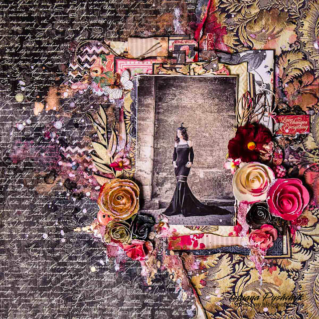 Beloved Kit mixed media layout by Tanya