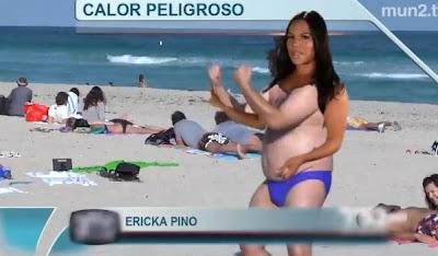 broma pesada a erika pino chica del tiempo de telemundo con pantalla verde en la playa