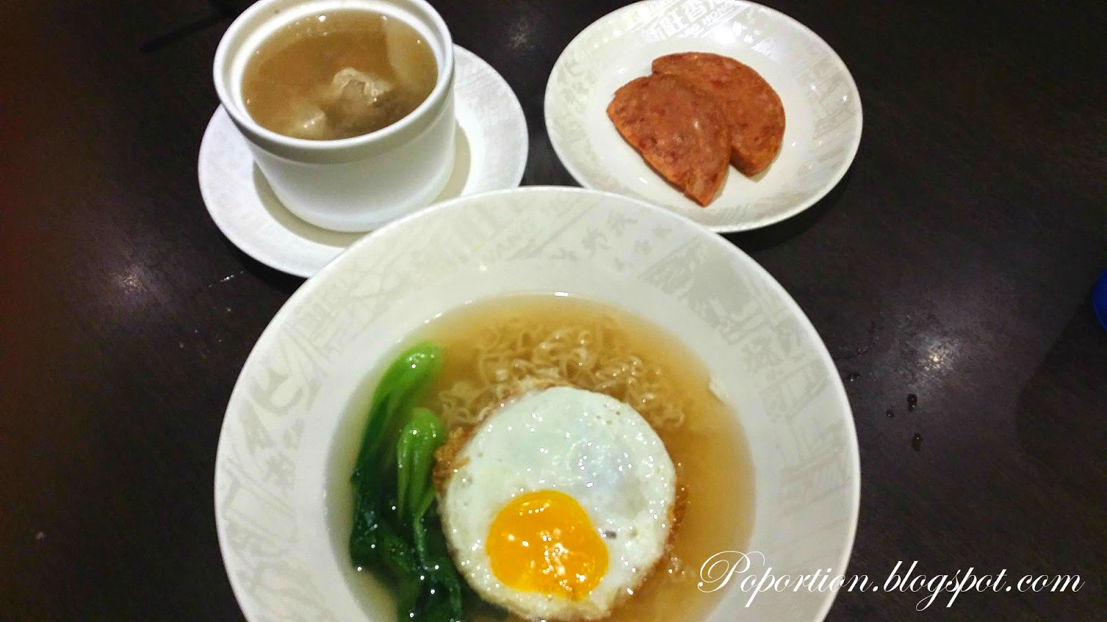 noodles with egg and luncheon meat soup