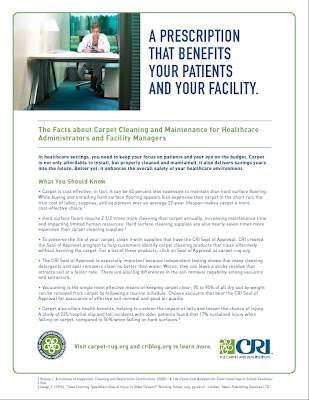CRI's Healthcare Administrators, Facility Managers Carpet Cleaning Facts