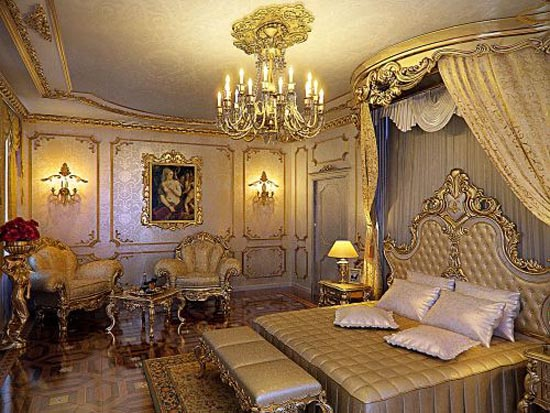Top most elegant beds and bedrooms in the world gold for Victorian villa interior design
