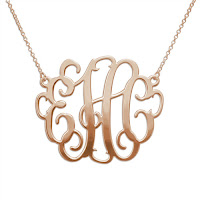 Rose Gold Plated XXL Monogram Necklace
