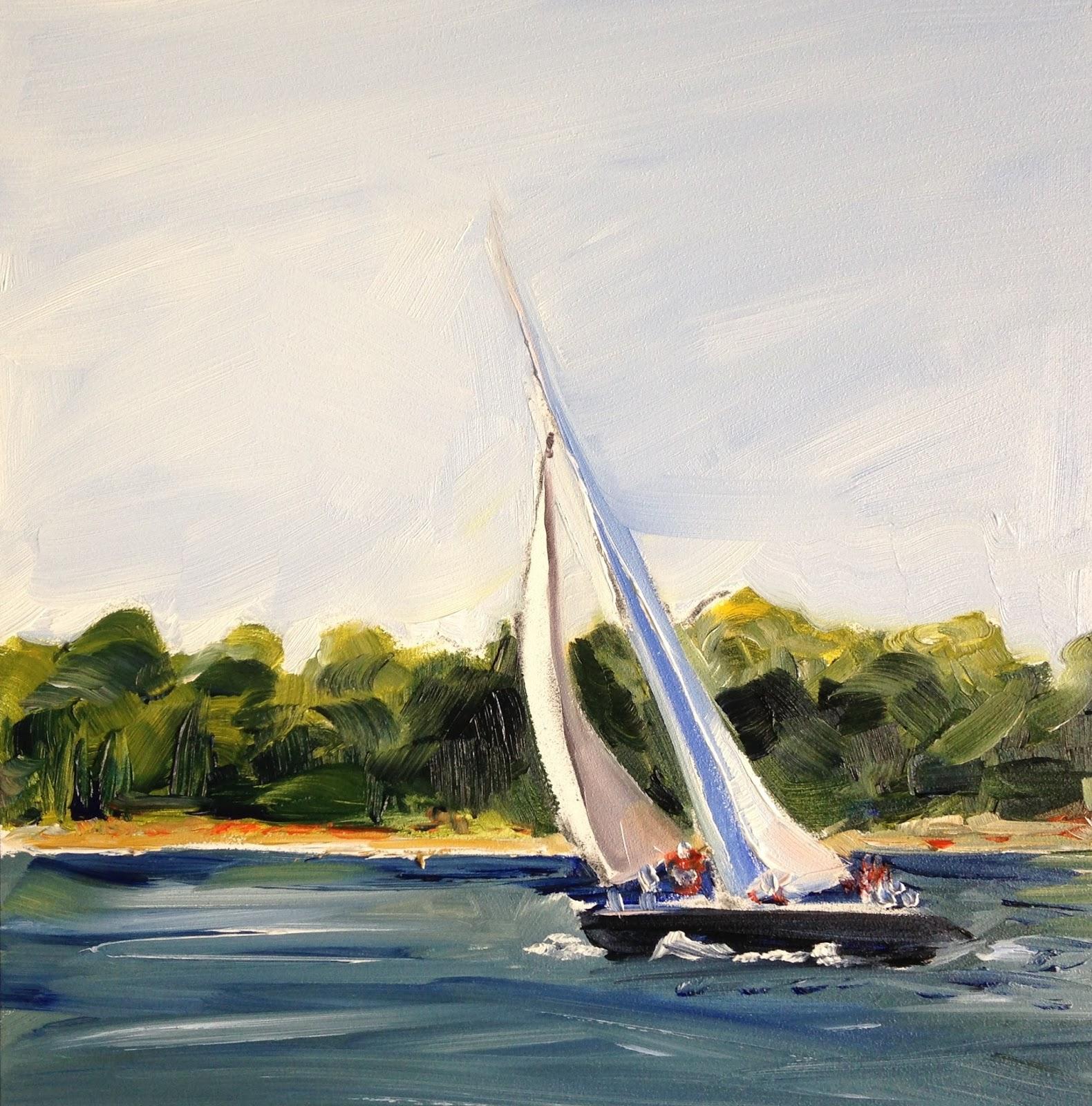 maria 39 s watercolor carolina blue sailboat painting in
