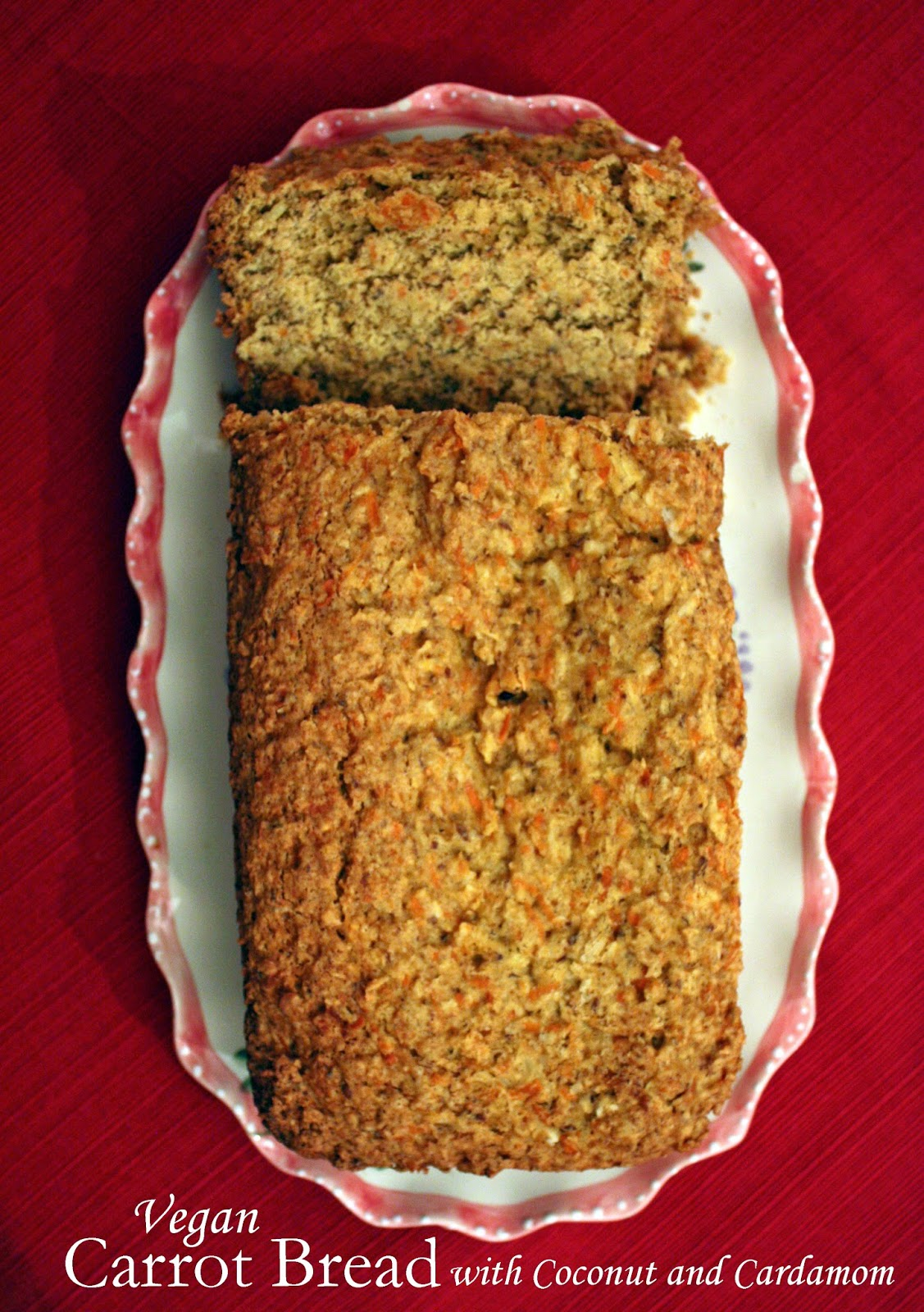 vegan carrot bread with cardamom and coconut