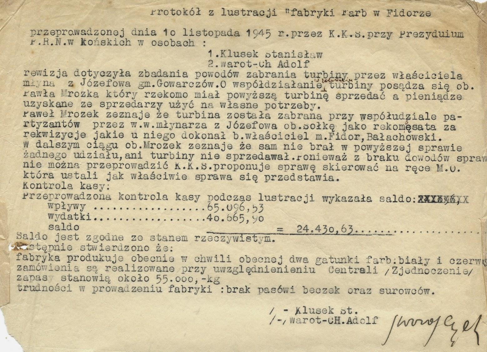 """Protokół z """"lustracji"""" fabryki farb w Fidorze z 10.11.1945 r. w zbiorach KW."""