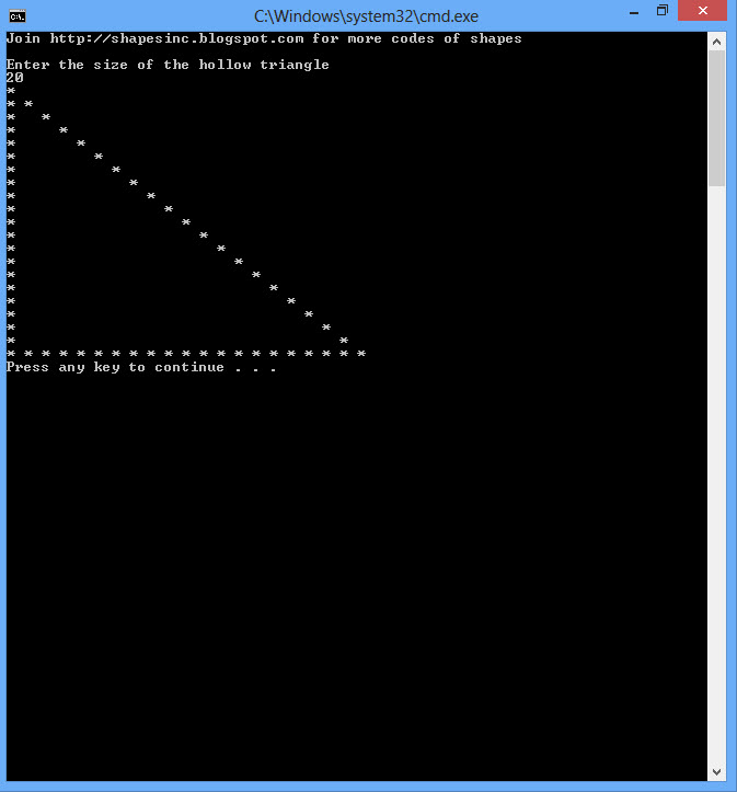 how to draw shapes program in c ascii