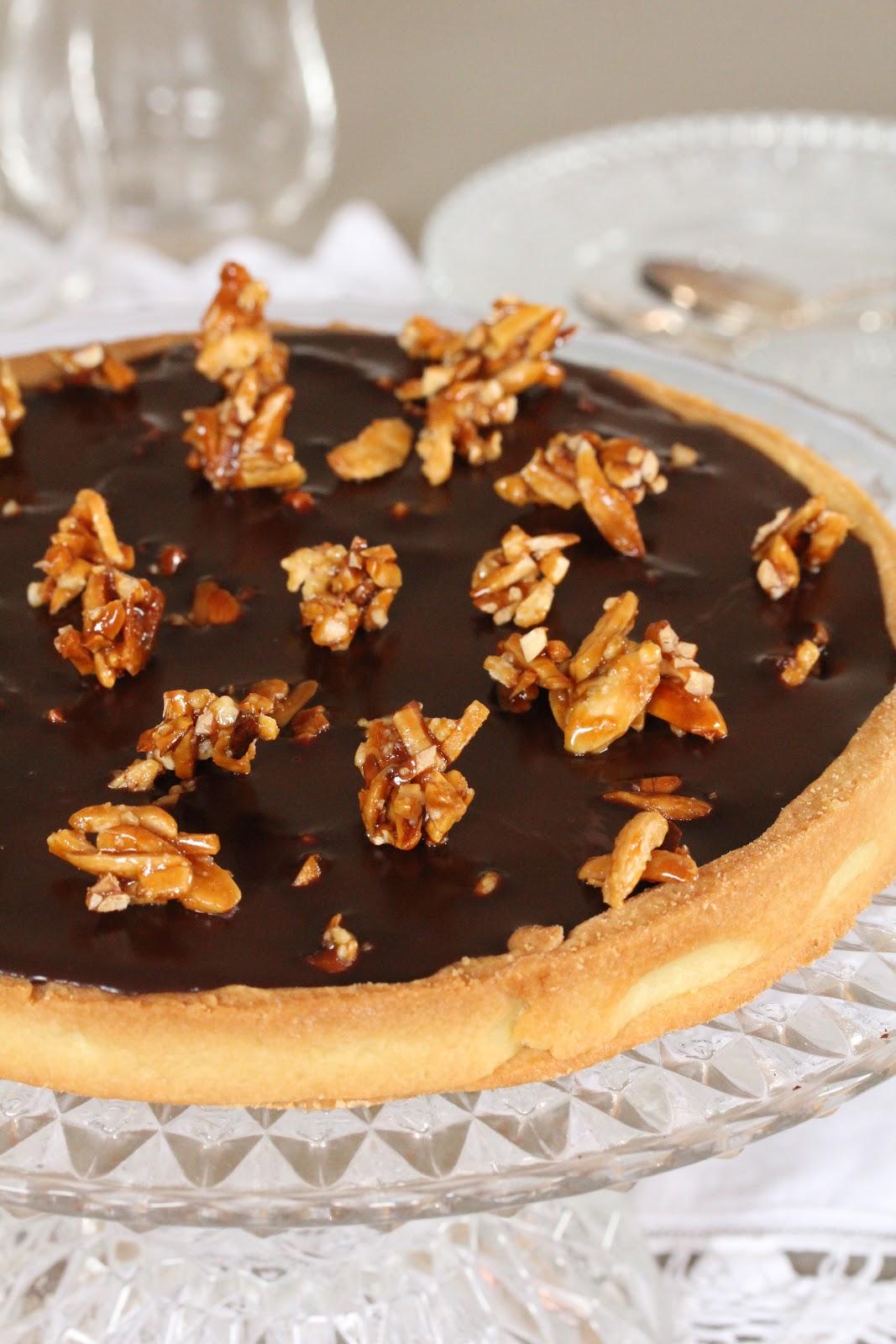 On dine chez nanou tarte au chocolat ganache sans cr me - Comment decorer une tarte au chocolat ...
