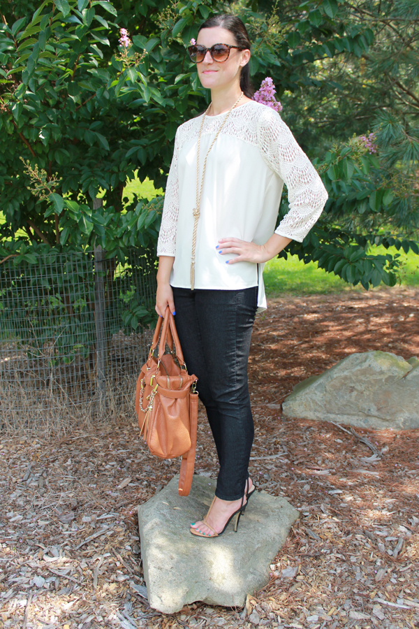Forever 21 crocheted top, skinny jeans, Baublebar necklace