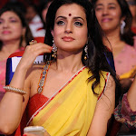 Ameesha Patel Looks Super Hot In Yellow Saree With Red Blouse At The South Film Awards 2013