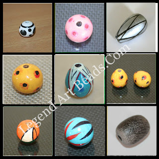 Indian tube wooden painted beads