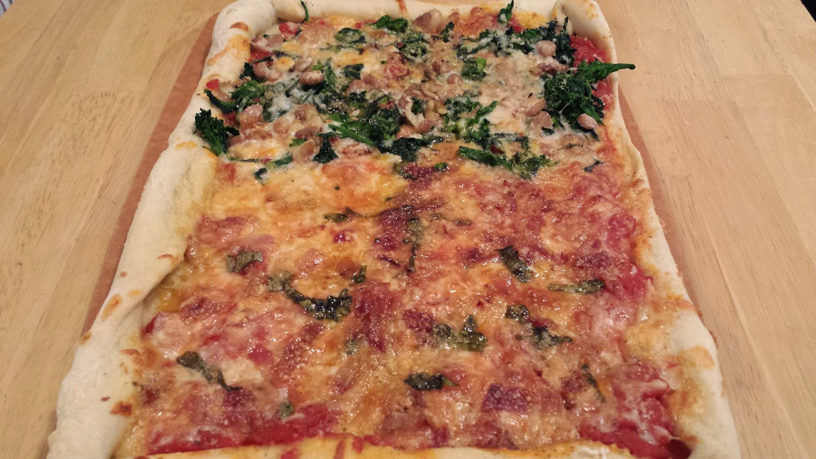 Broccoli Rabe and Beans and 1/2 Bacon Pizza