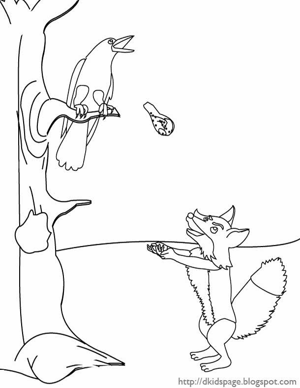 Fox and The Crow - Aesop Coloring Page