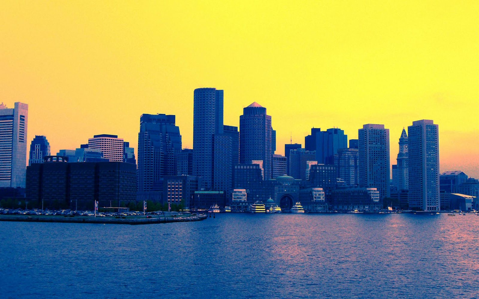 Boston City Yellow Sky