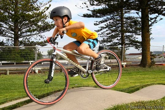 Kyler White, Napier, on the first day of the new Napier Pump Track on Marine Parade, Napier. photograph