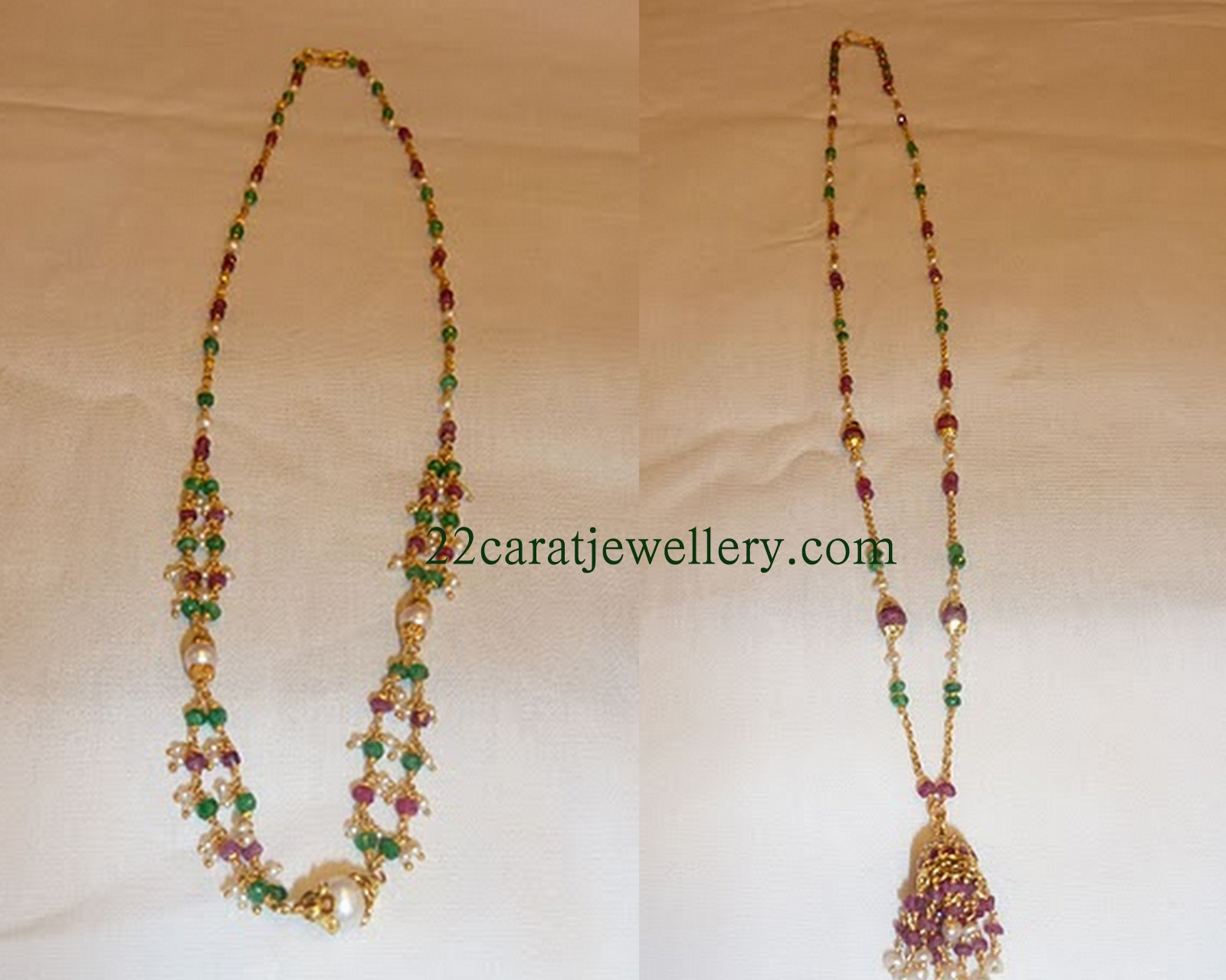 Light Weight Short Necklace Sets (below 10 grams) - Jewellery Designs