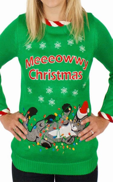 Women's Lighted Tangled Cat Ugly Christmas Sweater in Green