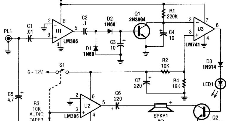 electronics projects  build a scanner voice squelch circuit diagram